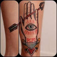hand eye heart and arrow tattoo on leg tattoo ideas hand tattoos