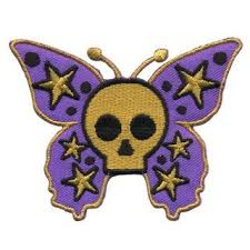 patch butterfly with skull purple ocher 3 66