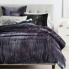 Cover Bed Frame Crinkle Velvet Duvet Cover Shams West Elm