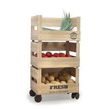 ckb ltd wooden trolley 3 tier kitchen fresh vegetable fruit