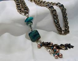 coloured stone necklace images Blue coloured semi precious stone long necklace michele maher jpg