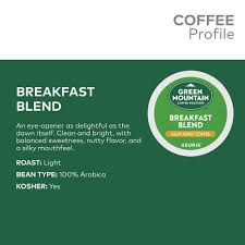 keurig k cups light roast green mountain coffee roasters breakfast blend single serve keurig k