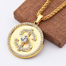 crystal link necklace images New round dollar us money sign pendant necklace with rhinestone jpg