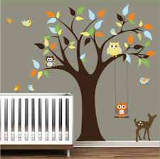 monkey and owl nursery tree wall mural stickers wall sticker nursery wall decals tree stickers with animals owls wall decal