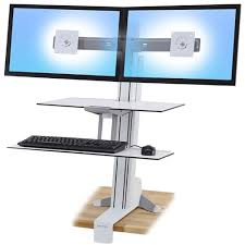 Ergonomic Standing Desks Workfit S Dual Monitor With Worksurface White Workfits