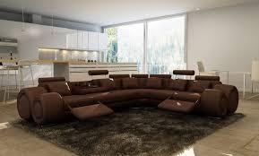 Modular Leather Sectional Sofa Living Room Brn Bl Modern Leather Sectional Sofa With Recliners