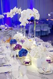 Vases With Flowers And Floating Candles Modern Purple Blue U0026 White Wedding At Contemporary Chicago Venue