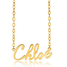 Gold Personalized Name Necklaces Name Necklace 925 Sterling Silver 18 K Gold Plate Small Angel