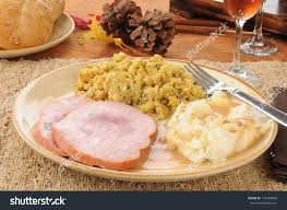 thanksgiving dinner ham mashed potatoes stock photo