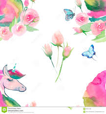 Beautiful Flowers Bright Lovely Cute Fairy Magical Colorful Pattern Of Unicorns With