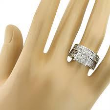 14k gold wedding ring sets 14k gold matching trio wedding ring set princess cut diamonds