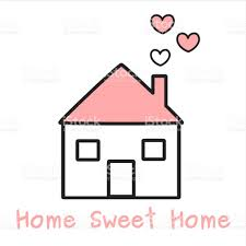 cute lovely black white and pink home with hearts cartoon vector