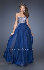 cheap long marine blue sweetheart prom dresses by la femme style