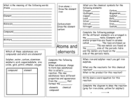 atoms and elements revision worksheet by deb1977 teaching