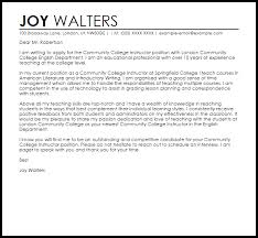 brilliant ideas of sample cover letter for community college