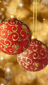 red gold christmas balls tree decorations android wallpaper free