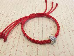 bracelet with red string images Silver heart red string bracelet braided adjustable kabbalah jpg