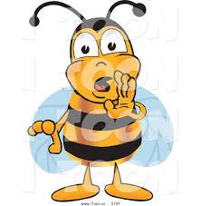 royalty free cartoon of a sneaky bee mascot cartoon character