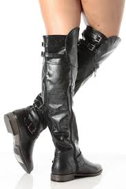 zipper motorcycle boots black faux leather over the knee zipper accent biker boots