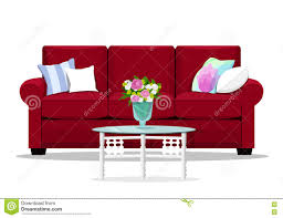 Red Pillows For Sofa by Couch And Pillows Flat Design Home Furniture Stock Vector