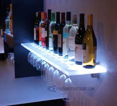 floating shelves w wine glass rack led lighting u0026 brackets