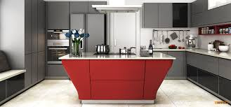 OPL Modern Grey And Red Matte Lacquer Kitchen Cabinet - Red lacquer kitchen cabinets