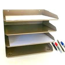 Vintage Desk Organizer Wood Paper Trays Vintage Industrial Metal Desk Tray Mid Century