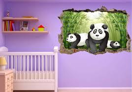 stickers panda chambre bébé stickers 3d trompe l oeil panda réf 23249 stickers muraux enfant