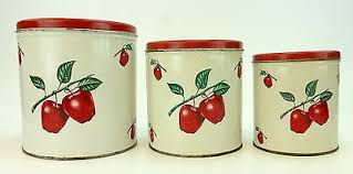 decoware canisters set of 3 red apple design kitchen rustic