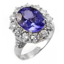 14ct white gold oval tanzanite u0026 diamond cluster ring jewellery
