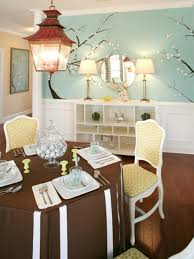 alluring dining room wall decor with nice painted wallpaper close