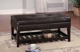Ottoman Shelf by Brown Leather Top Bench Coffee Table W Shelf U0026 Slat Storage Base