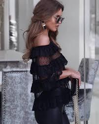 blouse tumbler blouse top black top ruffled top pan black blouse