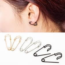 ear pin earrings safety pin earrings gold silver black plated brooch hoop earing