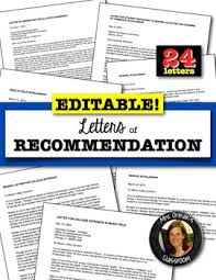 editable letters of recommendation and reference letters save