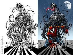 coloring side side spider man venom andreranulfo