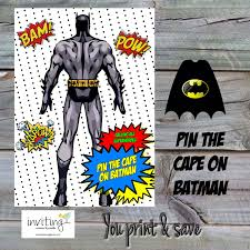 Batman Valance Superheroes Party Game A3 Pin The Cape On Batman Instant