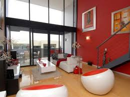 red and tan living room ideas brown sofa wall painting grey