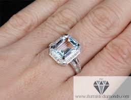 aquamarine diamond ring diamond pave halo emerald cut aquamarine engagement ring