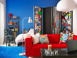Red Sofa Living Room Ideas Bedroom Cool Ikea College Dorm With Floor Lamp And Red Sofa Also