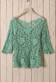 Floral Sleeves For Green Floral Mid Sleeves Crochet Top Retro And Unique Fashion