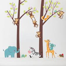 popular jungle child buy cheap jungle child lots from china jungle 100 105 cartoon jungle animal tree wall stickers for nursery kids rooms wall decoration pvc