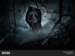 spooky background halloween ghost scream with old fence over smoke dead tree crow moon and