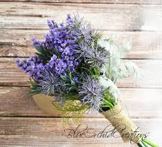 lavender bouquet lavender bouquet with thistles purple bouquet outdoor wedding
