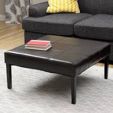 table square tufted leather coffee table ott aged brass square