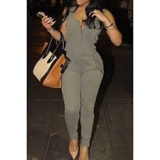 stylish jumpsuits stylish u neck sleeveless solid color low cut jumpsuit for