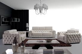 Modern Leather Sofa Sets Casa Lumy Modern Tufted Leather Sofa Set With Crystals
