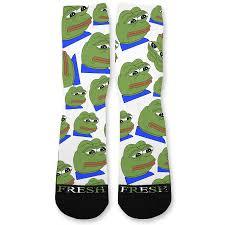 Meme Socks - pepe the frog meme custom athletic fresh socks fresh elites