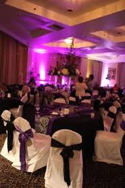 purple chair covers black tablecloths white chair covers purple chair sashes