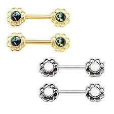 nipple rings images Bodyj4you nipple piercing bar flower created opal body piercing jpg